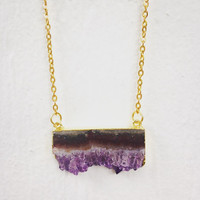 14k Gold Painted Amethyst Connector Necklace
