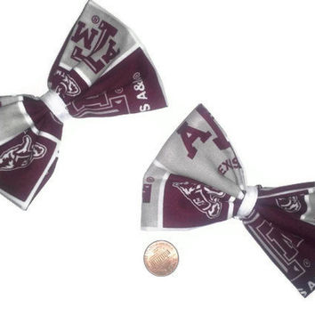2 Texas A&M Aggies Hair Bows, Womens bows, Sports bows, Aggies bows, Football accessories, Texas, Aggies