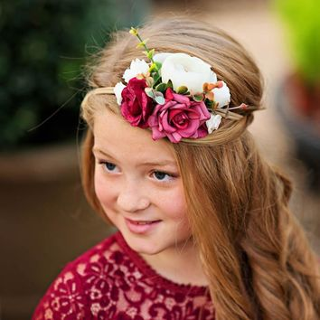 Leah Wine Floral Headband