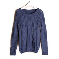 ZYLC Kniting Scoop Neck Reteo Splicing Wrists Christmas Sweater For Women