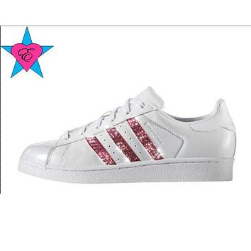 Pink Crystals Glitter Adidas Originals Superstar Shoes