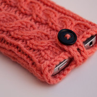 Coral Pink Double Cable Knit iPhone Case (3/4/4S Gen models)