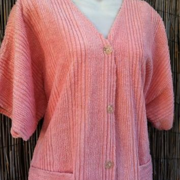 VINTAGE M PEACH CHENILLE BUTTON ROBE by HERBCRAFT LADIES SHORT ROBE