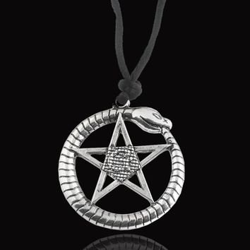 New fashion jewelry Supernatural Snake pentagram Witch Protection Crescent Moon Knot Amulet Round charm Necklace Pendant