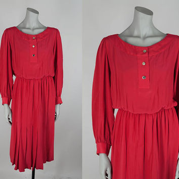 SALE Vintage 80s Dress / 1980s Red Silk Slouchy Midi Dress M L