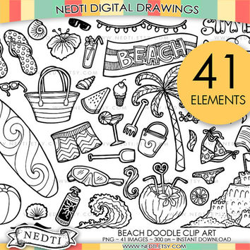 Beach Doodle Clip Art, Hand Drawn Clipart, Surfboard, Summer, Sand Castle, Palm Tree, Holiday, Sun, Sand, Seaside, Instant Download