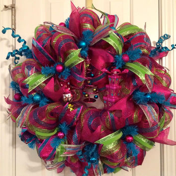 Christmas Hot Pink, Teal, Lime Green Deco Mesh Wreath