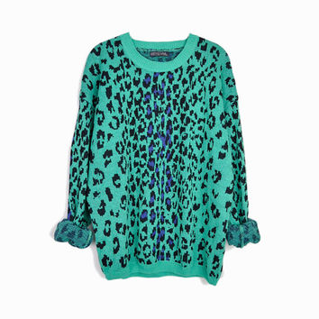 Vintage Teal Leopard Print Sweater / 90s Tacky Sweater