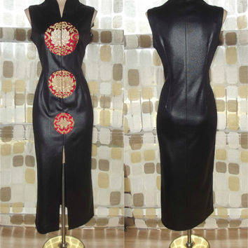 Vintage 80s 90s Wet Look Faux Leather Sexy BLACK Asian Wiggle Dress Cocktail Cheongsam L/ Large