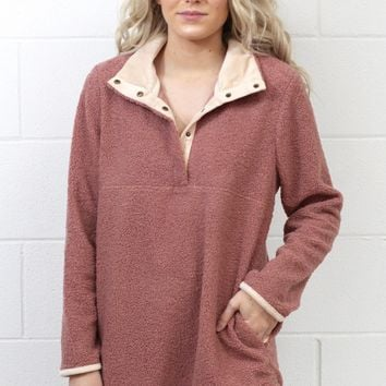 Cozy Wubby Snap Front Pullover {Dk. Blush} EXTENDED SIZES