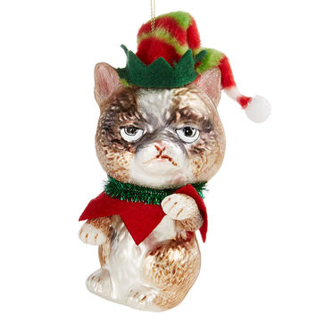 Holiday Lane Glass Grumpy Cat Ornament, Created for Macy's | macys.com