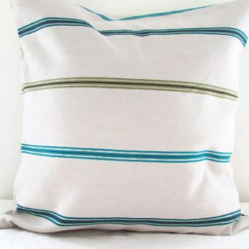 Petrol stripe pillow cover , 16 inch cushion cover in beige with peacock blue turquoise olive stripes Ashley Wilde fabric UK seller