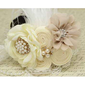 Ivory Champagne Flower dog collar, Pearl, beaded, feather flower attached to Ivory, Champagne, Black, White, lilac or copper leather collar