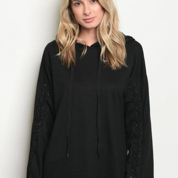 MILA LACE UP SWEATER