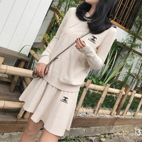 """Chanel"" Women Sport Casual Knit Hooded Long Sleeve Sweater Short Skirt Set Two-Piece"