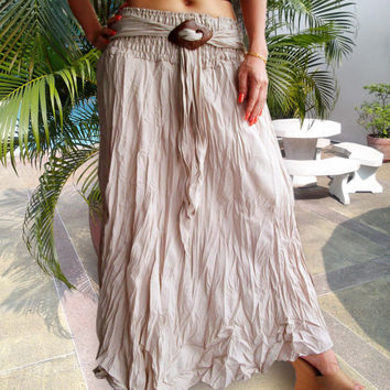 Light Cotton Gypsy Skirt -Sun Coconut Buckle Sash - Beige