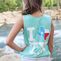I Texas Texas Tank Top - Mint