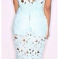 Mint Purple Pink Cut Out Floral Lace Short Sleeve Scoop Neck Top Midi Skirt Two Piece Dress