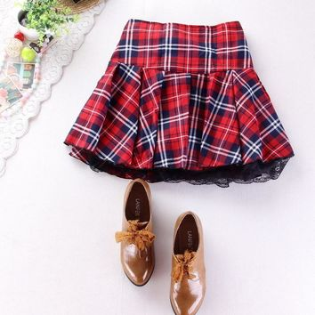 FLANNEL SKIRT Women's High quality school uniform plaid short pleated lace (8 Color)
