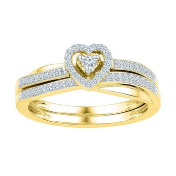 10kt Yellow Gold Womens Round Diamond Heart Bridal Wedding Engagement Ring Band Set 1/4 Cttw