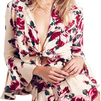 Women Floral Print Bowknot Front Deep V Flare Sleeve Romper