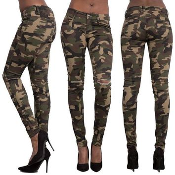 Womens Stylish Camo Skinny Slim Pants