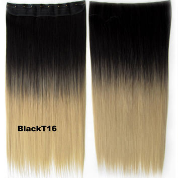 "Dip dye hairpieces New Fashion 24"" Women Clip in on gradient wig Bath & Beauty Hair Ombre Hair Extensions Two Tone Straight hair Gradient Hair Extension Colorful Hairpieces GS-666 Black T16,1PCS"