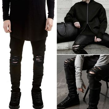 Men Stylish Ripped Jeans Pants Biker Classic Skinny Slim Straight Denim Trousers