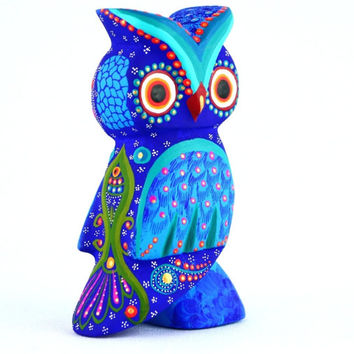 A647 OWL BLUE Alebrije Oaxacan Wood Carving Handcrafted Mexican Folk Art
