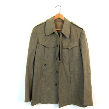 Vintage 1940s Military Jacket Drab Green WOOL German Army Field Jacket 40s Army Green Wool Cargo Commando Jacket Patches Camo Mens Small