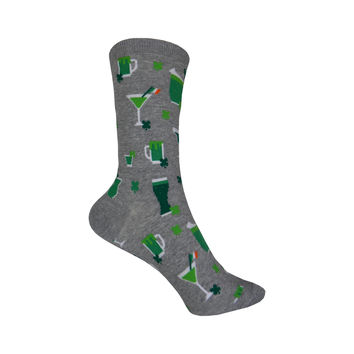 St. Patrick's Green Drinks Crew Socks in Gray Heather