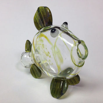Glass pipe -fish chillum green wrap