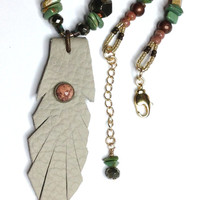 Leather Pendant Necklace Gold Filled Hand Knotted Genuine Gemstones Native Style Beaded Boho Chic