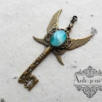 Fantasy Winged Key Necklace ,Fantasy jewelry,Mistery jewelry,Agate Charms,Skeleton key steampunk,Fantasy pendant,Winged pendant jewelry,gift