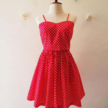Crop Top and Skirt Set Red with White Polka Dot La La Land Style Red Summer Matching Red Crop Top and skirt Set Retro Vintage Modern Style