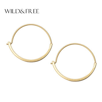 Women Trendy Gold Round Hoop Earrings Vintage Zinc Alloy Simple Design Circle Hoop Earrings Jewelry Female