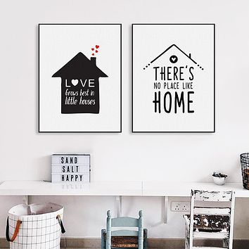 Black White Nordic Minimalist Houses Love Quotes A4 Canvas Art Print Poster Wall Picture Painting Home Kids Room Decor No Frame
