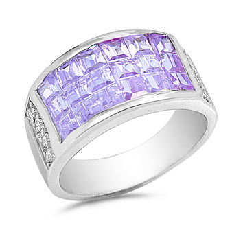 Sterling Silver CZ Simulated Lavender Amethyst Invisible Set Designer Ring 11MM