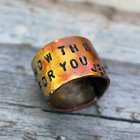 Heat Colored Copper Scripture Ring, Jeremiah 29:11, Custom Copper Dome Unisex Ring, Forged, Hammered, Wrapped, Rugged Style