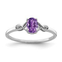 Sterling Silver Genuine Amethyst Oval and Diamond Ring