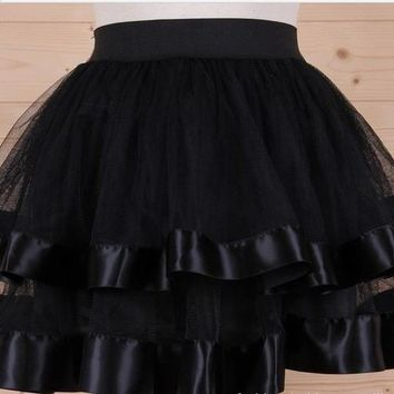 Women Black Tutu Skirt tulle Ballet Klit Belly Dance Miniskirt.