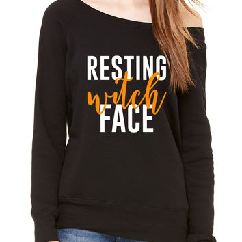 Resting Witch Face Halloween Off Shoulder Long Sleeve Sweater