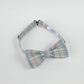 Plaid Linen Men's Bow Tie, Pre-tied Adjustable Tie, Pastel Neck Tie, Bowtie in Blue, Beige & Purple with Free Shipping