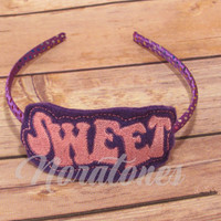 Embroidered Headband Sliders With Headband, Plastic Headband , Sweet Headband, Headband Embroidery, Multi Color Headband, Purple Headband