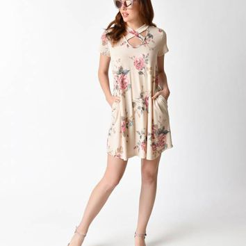 Retro Style Tan & Pink Floral Short Sleeve Knit Shift Dress