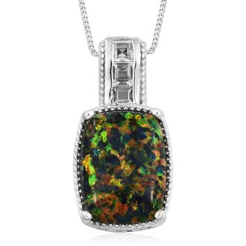 Black Ridge Opal, White Topaz Platinum Over Sterling Silver Pendant With Chain