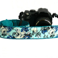 Roses Camera Strap. dSLR Camera Strap. Blue Camera Strap. Women accessories