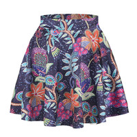 3D Floral Flowers Printed A-line Casual Pleated Elastic Tutu Skirts