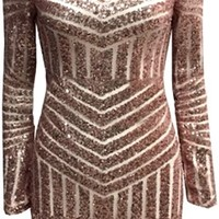 Gold White Sequin Geometric Boat Neck Long Sleeve Low Open Back Bodycon Mini Dress