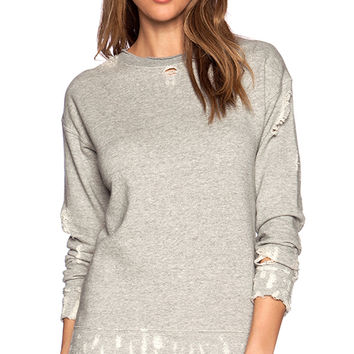 MOTHER The Big Easy Sweatshirt in Light Gray